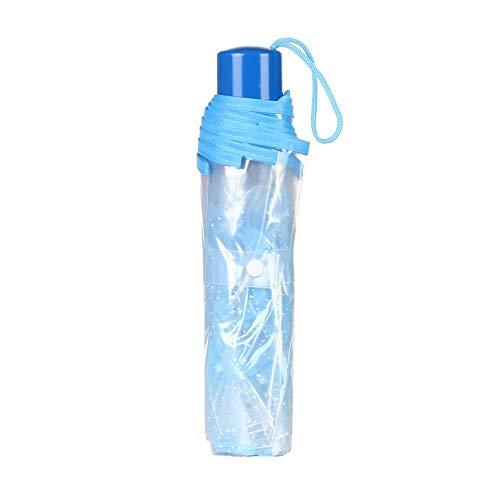 Hacoly Kirschblüte Transparent Regenschirm Kunststoff durchsichtig Taschenschirm automatischem Knopf Sturmfest Schirm mit Lanyard, klein, leicht kompakt, windsicher, stabil,23cm - Blau