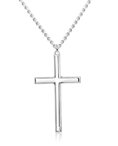 BESTEEL 3MM 925 Sterling Silver Cross Necklace for Men Women Pendant Necklace Classic Curb Chain Jewellery Best Gift with Box 22 inch