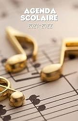 Agenda scolaire 2021-2022 motif musique partition notes dorées: Un sublime agenda journalier pour élémentaire, collège, lycée