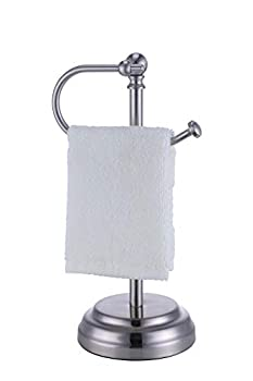 SunnyPoint Heavy Weight Classic Decorative Metal Fingertip Towel Holder Stand for Bathroom Kitchen Vanity and Countertops  Brush Chrome 13.5  x 5.5  x 5.5  INCH