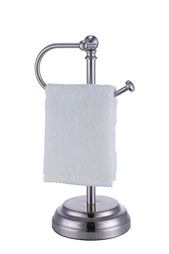 "SunnyPoint Heavy Weight Classic Decorative Metal Fingertip Towel Holder Stand for Bathroom, Kitchen, Vanity and Countertops. (Brush Chrome, 13.375"" x 5.5 x 6.75 INCH)"