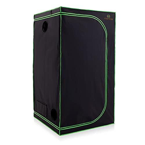 Strattore Armario de Cultivo/Grow Tent 100x100x200 cm - Hidroponía Lona Resistente a Prueba de luz y de rasgaduras - Impermeable Crecimiento rápido Cultivo de Plantas en Interiores - in Negro