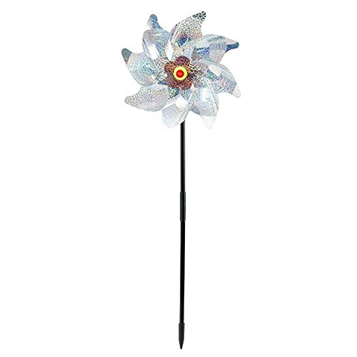 DQXY 4Pcs Reflective Pinwheels with Stakes, Extra Sparkly Pin Wheel for Garden Decor, Bird Repellent Devices in Yard Keep Birds Away Garden Decorations