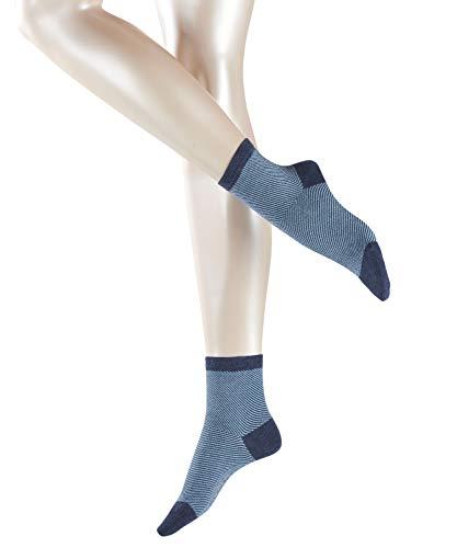 ESPRIT Damen Diagonal W SSO Socken, Blickdicht, Blau (Danubio Melange 6258), 35-38 (UK 2.5-5 Ι US 5-7.5) (2er Pack)