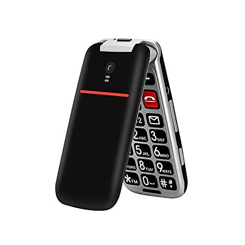 artfone Téléphone Portable Senior Débloqué avec Grandes Touches | Bouton SOS | Radio FM | écran de 2,4 Pouces | Appareil Photo Facile à Utiliser pour Personnes(Noir)