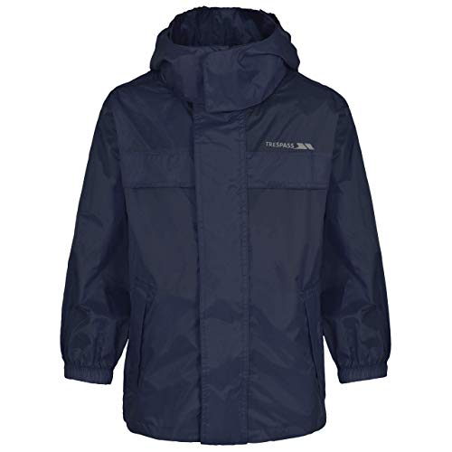 Trespass Veste Coupe-Vent pour Enfants, Homme, Pack Away Jacket, Bleu Marine, 3/4