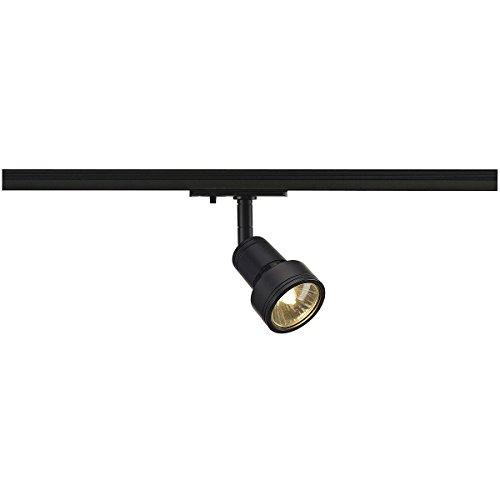 SLV LED 1-Phasen-Strahler PURI | Dreh- und schwenkbarer Schienen-Strahler, LED Spot, Deckenstrahler, Deckenleuchte, Schienensystem, Innenbeleuchtung, 1P-Lampe | GU10 QPAR51, schwarz, max. EEK E-A++