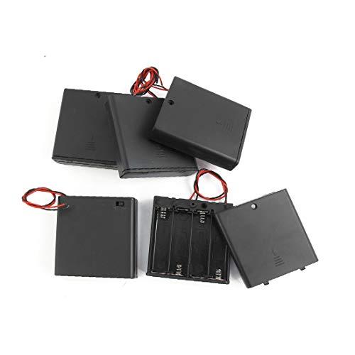 New Lon0167 5 piezas Destacados 4 x pilas eficacia confiable AA Soporte de batería Contenedor de la caja con interruptor de encendido/apagado(id:8a6 db 11 879)
