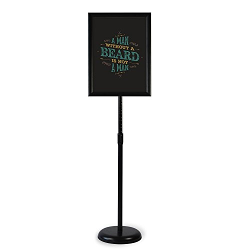 Klvied Heavy Duty Pedestal Poster Sign Stand, Adjustable Aluminum 8.5' x 11' Floor Standing Sign Holder for Both Vertical and Horizontal View, Black