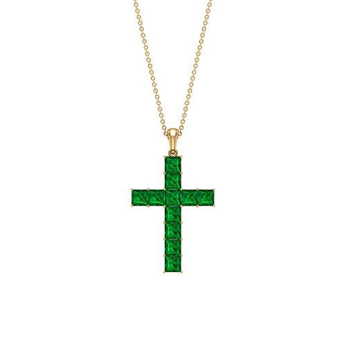 Colgante de esmeralda de 3,5 CT creado en laboratorio, colgante de cruz, colgante mínimo, collar apilable, 14K Oro amarillo Sin cadena