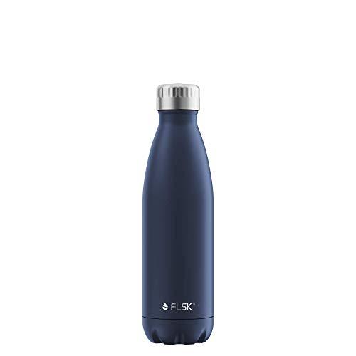 FLSK Das Original New Edition Edelstahl Trinkflasche – Kohlensäure geeignet | Die Isolierflasche hält 18 Stunden heiß und 24 Stunden kalt | ohne BPA und rostfrei, Midnight, 500ml