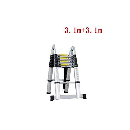 GUOXY Multifunktions-Trittschemel Teleskop 2.9M Aluminium Diy Faltbare Ausziehbare Einzel Gerade Multi Purpose Ladder,3.1M + 3.1M
