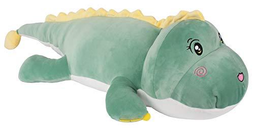 FeiWen Dinosaurio Creativo Juguetes de Peluche Muñeca Acostarse Almohada para piernas con Abrazadera muñeca Muñeca de Trapo Regalos para niños (Verde 100cm)