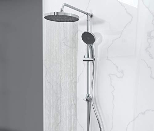 SCHÜTTE SAMOA RAIN Regendusche mit Wandhalterung (ohne Armatur), Duschsystem mit innovativer Samtstrahl-Technologie, Dusch-Set (Regendusche mit Wandhalterung, Duschsäule), Grau