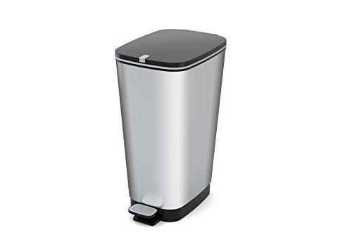 Kiss KIS Abfallbehälter, Kunststoff, Silber, 29 x 44,5 x 60,5