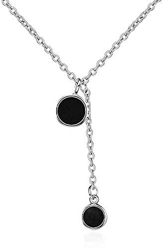 LKLFC Collar Mujer Collar Hombre Collar Cadena de clavícula Corta Gota Glaze Joyería de Plata Doble Negro Colgante Redondo Mujer Collares Simples Regalo Niñas Niños Collar