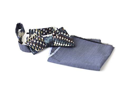 Noeud papillon Réversible et Mouchoir de poche pour Hommes, Taille Réglable avec Crochet, Bleu, Vert, Pétrole, Bordeaux, Jaune, Crème, Viscose, Soie,
