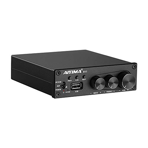 AIYIMA B03 2 Channel Bluetooth 5.0 Receiver Amplifiers 160 watt x 2 TDA7498E Stereo Subwoofer Amp HiFi Class D Amplifier Receiver with Treble Bass Adjust USB Music Player for Home Desktop Speakers