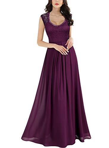 MIUSOL Damen Aermellos V-Ausschnitt Spitzenkleid Brautjungfer Cocktailkleid Chiffon Faltenrock Langes Kleid Magenta M