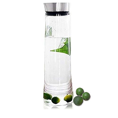 Waterkruik glazen karaf borosilicaatglas waterkaraf koud ijsthee waterkan met deksel van roestvrij staal geschikt voor water, melk, sap, limonade en koolzuurhoudende dranken (1L)