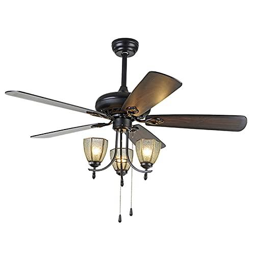 Heating Pads Ventilador De Techo con Luz,75 W,5 Aspas De Madera,Silencioso,6 Velocidades De VentilacióN,68''De DiáMetro,Dormitorio,FuncióN Invierno,Brown,68 Inch