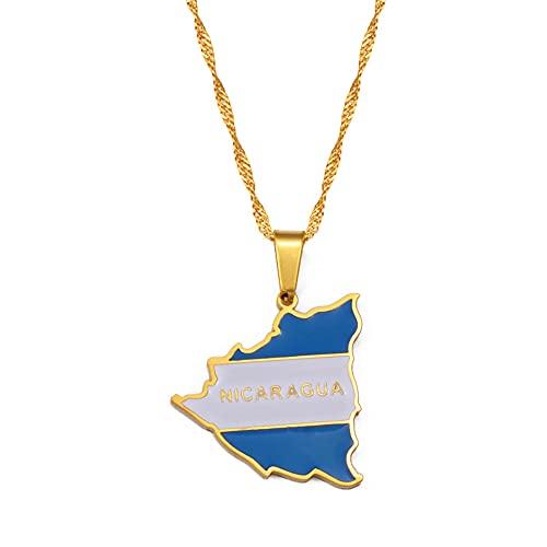 Collar Para Mujer,Collares Con Colgante De Bandera De Mapa De Nicaragua Para Mujer, Encanto De Color Dorado, Mapas De Nicaragua, Joyería, Regalos Patrióticos, Color Dorado, Cadena Fina De 45 Cm