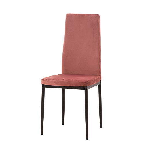 Italian Concept set 4 SEDIE Princess stoel met poten van metaal, aluminium afwerking, zitting en rugleuning van fluweel roze antiek, One Size