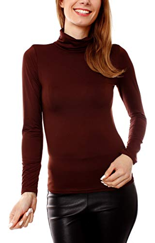 Easy Young Fashion Damen Thermo Microfaser Rollkragen Langarm Shirt Uni Dunkelbraun XS 34 (S)