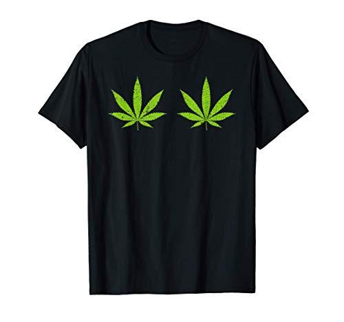 Hoja de cannabis Disfraz de Halloween divertido Pechos Camiseta