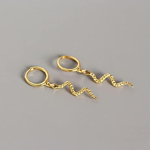 Pendientes De Aro De Plata De Ley 925 para Mujeres, Hombres, Serpiente,Animal, Oro, Plata, Joyería para El Oído, Regalos, Color Dorado