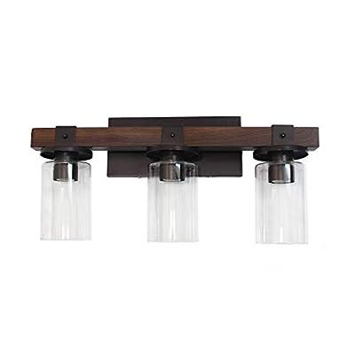 Elegant Designs VT1009-BWN Industrial Rustic Lantern Restored Wood Look 3 Bath Vanity Light, Brown