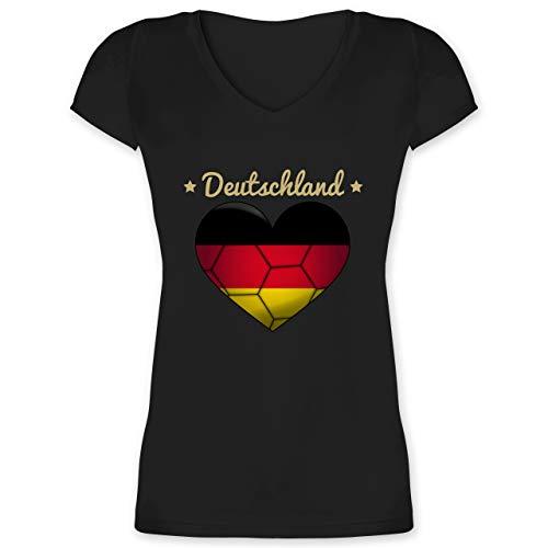 Handball - Handballherz Deutschland - S - Schwarz - Deutschland v Ausschnitt - XO1525 - Damen T-Shirt mit V-Ausschnitt