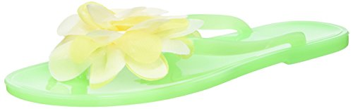 Nufoot Lime Flip Flops with White/Yellow Blossom, Small, 2 Count