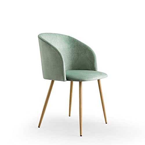 FATI Velvet Armchair Kitchen Chair Upholstered Seat with Metal Legs for Dining Room, Bedroom, Home or Office (Green, 1)