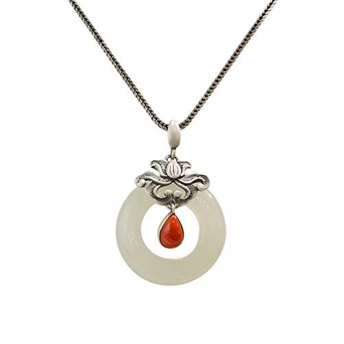Anhänger Halskette 925 Silber Damen mit Jade - Chinesischer Vintage Schmuck 100% Handarbeit aus Hotan mit Echtheitszertifikat 103-LT101V2-45cm