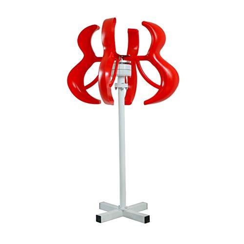 AZUOYI Turbina De Viento 400W 12V Linterna Aerogeneradores Generadores 5 Palas Linterna Vertical Estilo Color Rojo Eje Barco Jardín + Controlador,Rojo,300W 24V
