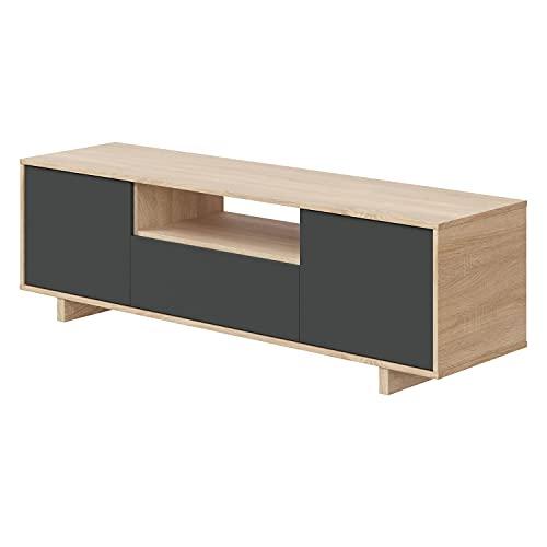 Habitdesign Mueble de TV, Roble Canadian y Gris Antracita, Mediano