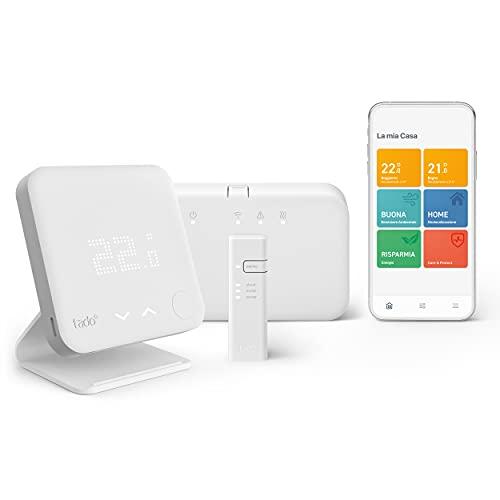 tado° Termostato Intelligente Wireless Kit Base V3 + Gestione intelligente del Riscaldamento, Compatibile con Alexa, Siri & Assistente Google + Supporto da Tavolo, Accessorio Termostato Intelligente