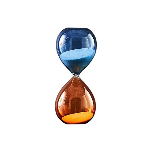 FUNRE 15 Minuten 30 Minuten 60 Minuten 5 Minuten Sanduhr Stundenzeiger Chronograph Glas Uhren Dekorationen for Haus Schlafzimmer-Dekor (Color : Medium Blue Orange)