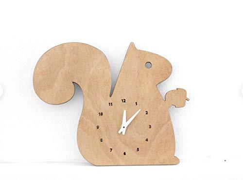 Kinder Wanduhr EICHHÖRNCHEN Tier Motiv 33x22cm leises Uhrwerk Kinderzimmer Dekoration fantasievolle Tiermotive minimalistisch holz geschenk zum stellen hängen