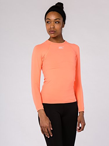 BODYCROSS T-Shirt Compression Manches Longues Femme Eleni Orange Running, Trail, Training - Polyamide Skinlife/Élasthane - Col Rond, Coupe Compression, Evacuation Rapide Transpiration
