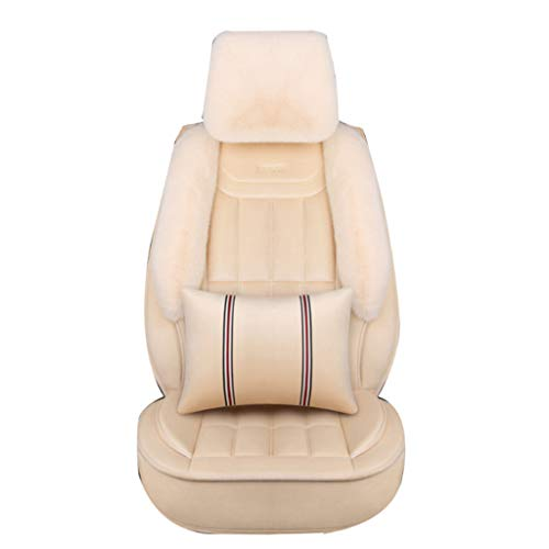 SSRS Mercedes-Benz seat cover luxury car seat winter plush all-inclusive cushion men and women car seat cover (Color : Beige)