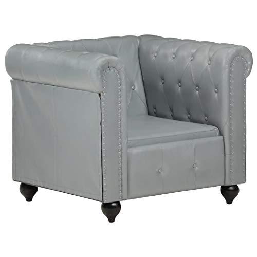 UnfadeMemory Chesterfield-Sessel Armsessel Einzelsessel Relaxsessel Echtleder und Massives Mangoholz Polstersessel Lounge Wohnmöbel 89x76x75 cm (Grau)