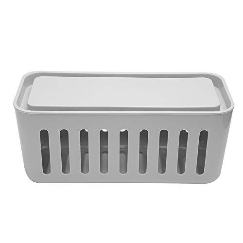 Nannday Kabel-Organizer-Box, Netzkabel-Aufbewahrungsbox, leichte staubdichte 30x13,5x13,5 cm für zu Hause(Gray)