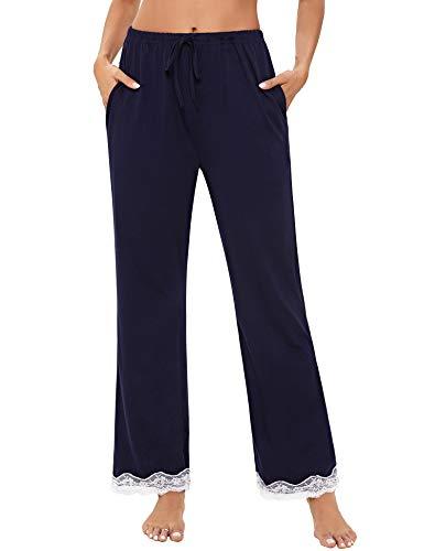Akalnny Pantalones de Pijamas Mujer Largo Estar por Casa con Boilsillos Pantalón de Yoga Dormir Casual Largo con Cintura Elástica Suave Cómodo