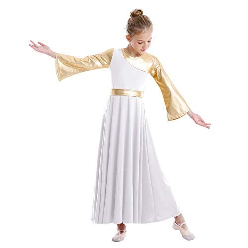White Praise Dance Dresses for Girls Metallic Liturgical Praise Dance Dress Bell Long Sleeve Lyrical Worship Costume Full Length Dancewear for Kids # White + Gold 7-8 Years