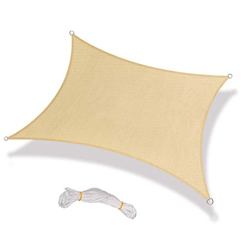 Warooma - Toldo de 2,5 m x 2,5 m con Cuerda Rectangular de Arena, Resistente a los Rayos UV, Resistente al Agua, para Patio y Actividades al Aire Libre