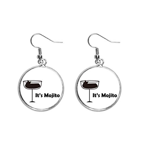 Mojito With Its Cup Ear Dangle Silver Drop Earring Jewelry Woman