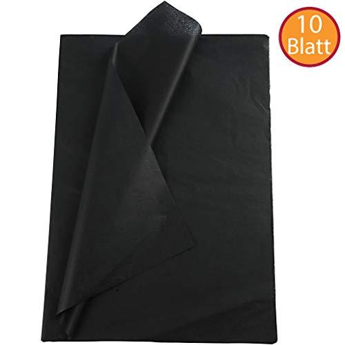 YooKreativ Seidenpapier Schwarz, Blatt 50x70 cm. 10 Blätter, Transparentes Seidenpapier zum Basteln und zur Dekoration