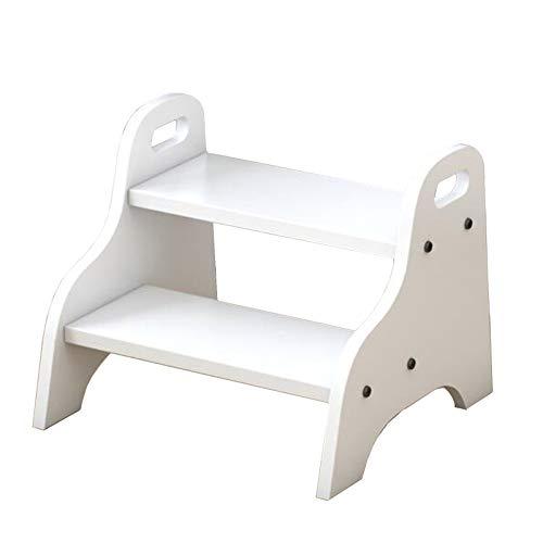 Taburete de escalera Pequeña 2 Niveles Taburete con Asa, 33cm de Altura Reposapiés para Niños para Cocina/Lavabo del Baño/Mesita de Noche del Dormitorio, Fácil de Montar (Color : White)
